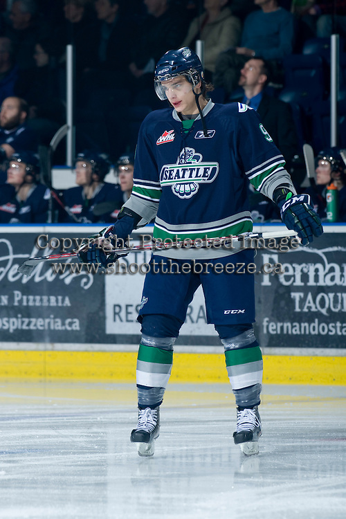 KELOWNA, CANADA, JANUARY 27: Justin Hickman #9 of the Seattle Thunderbirds skates on the ice as the Seattle Thunderbirds visit the Kelowna Rockets on January 27, 2012 at Prospera Place in Kelowna, British Columbia, Canada (Photo by Marissa Baecker) *** Local Caption ***