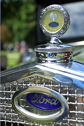 06 August 2016:  1930's era Ford grille and thermostat.<br /> <br /> Displayed at the McLean County Antique Automobile Association Car show at David Davis Mansion in Bloomington Illinois