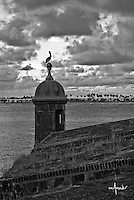 View of sentry box overlooking San Juan bay and Isla de Cabras