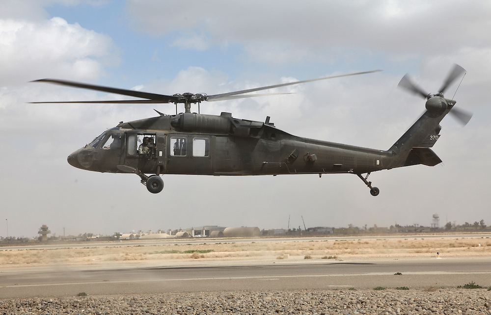 Blawkhawk taking off from the Balad Airbase flown by  members of the 1-244 Air Helicopter Battalion ( part of the 34th Air Brigade)  which is made up of companies from the Louisiana and Florida National guards.