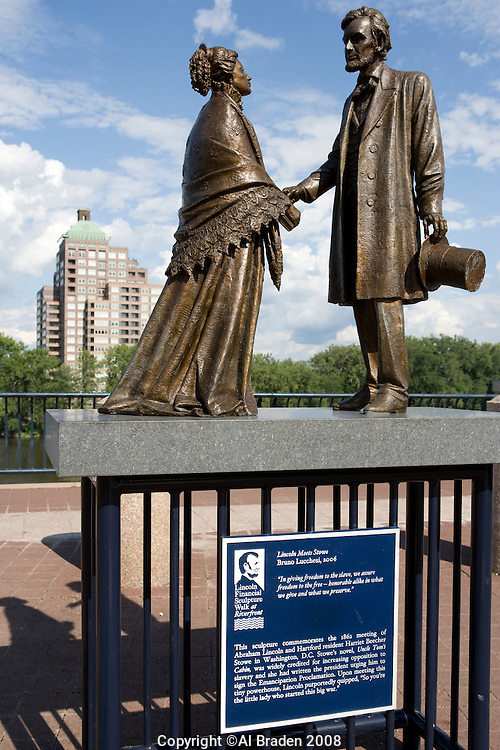Lincoln Financial Sulpture Walk at Riverfront over Connecticut River, Hartford, CT
