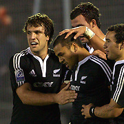 Telusa Veainu, New Zealand, is congratulated after scoring a try during the Australia V New Zealand Final match at the IRB Junior World Championships in Argentina. New Zealand won the match 62-17 at Estadio El Coloso del Parque, Rosario, Argentina,. 21st June 2010. Photo Tim Clayton...