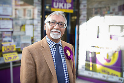 © Licensed to London News Pictures . 05/06/2014 . Newark , Nottinghamshire , UK . AMJAD BASHIR outside the UKIP office on Bridge Street in Newark today (Thursday 5th June 2014) as voting takes place in the Newark by-election , following the resignation of incumbent Patrick Mercer . Photo credit : Joel Goodman/LNP