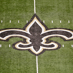 October 23, 2011; New Orleans, LA, USA; A general view of the logo at midfield prior to kickoff of a game between the New Orleans Saints and the Indianapolis Colts at the Mercedes-Benz Superdome. Mandatory Credit: Derick E. Hingle-US PRESSWIRE / © Derick E. Hingle 2011