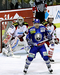 "15.03.2012, Dom Sportova, Zagreb, CRO, EBEL, KHL Medvescak Zagreb vs EC KAC, Playoff, Halbfinale, 5. Spiel, im Bild Andy Chiodo, (EC KAC, #31) Adam Naglich, (KHL Medvescak Zagreb, #7) und Thomas Hundertpfund, (EC KAC, #27) // during the semifinal Match of ""Erste Bank Icehockey League"", fith encounter between KHL Medvescak Zagreb and EC KAC at Dom Sportova, Zagreb, Croatia on 2012/03/15. EXPA Pictures © 2012, PhotoCredit: EXPA/ Pixsell/ Goran Stanzl     ATTENTION - OUT OF CRO, SRB, MAZ, BIH and POL *****"