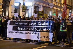 26.01.2018, AUT, Demonstration gegen den Akademikerball in Wien, im Bild Demonstranten mit Plakaten// during protest against the 'Akademiker Ball' of the FPOE - Freedom Party Austria, in Vienna, Austria on 2018/01/26. EXPA Pictures © 2017, PhotoCredit: EXPA/ Florian Schroetter