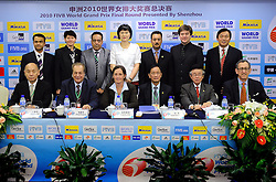 24-08-2010 VOLLEYBAL: WGP PRESS CONFERENCE AND TECHNICAL MEETING: BEILUN NINGBO<br /> FiVB Control Committee - officials and referees<br /> ©2010-WWW.FOTOHOOGENDOORN.NL