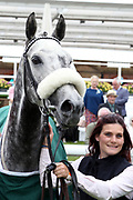 Groom Emily Bullock and SOVERIEGN DEBT after winning The Listed mrgreen.com Live Casino Ganton Stakes over 1m (£50,000) during the Mid Summer Raceday at York Racecourse, York, United Kingdom on 15 June 2018. Picture by Mick Atkins.