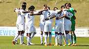 Palace huddle together before the Pre-Season Friendly match between Lewes FC and Crystal Palace at the Dripping Pan, Lewes, United Kingdom on 1 August 2015. Photo by Michael Hulf.