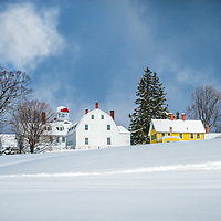 Winter at Canterbury Shaker Village. The Meetinghouse, Dwellinghouse.<br />