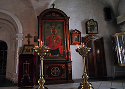 "Quiet sanctuary inside one of the churches at the Alekseevski Monastery in Uglich, Russia. As one of Russia's ""Golden Ring"" cities, Uglich is designated a town of significant cultural importance."