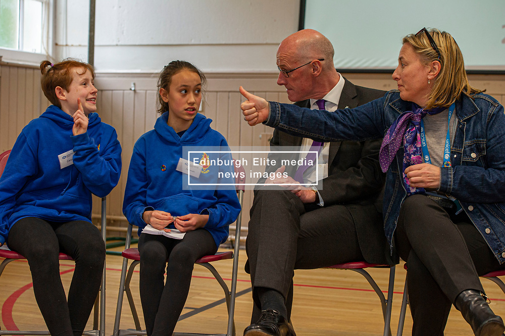 Pictured: John Swinney and Lucinda Rivers, Head of UNICEF UK in Scotland<br /><br />Deputy First Minister John Swinney headed to Sciennes Primary School in Edinburgh today to launch a public consultation on incorporating the UNCRC into Scots law. The Deputy First Minister had the opportunity to chat to students from primary six and seven during his visit.  Mr Swinney was joined by Councillor Alison Dickie , Vice Convenor of the Child and Families Committee in Edinburgh Council and Lucinda Rivers, Head of UNICEF UK in Scotland<br /><br /><br /> Ger Harley | EEm 23 May 2019