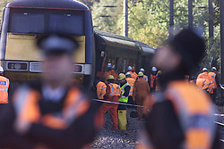 Hatfield, the morning after the train crash. Investigators and Police at the scene of the crash. The remains of the crash. New parts of the track waiting to be put on the tracy which was used by the Kings Cross to Leeds train yesterday which crashed. October 20, 2012..Photo by Andrew Parsons/i-Images..