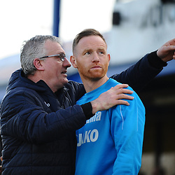 TELFORD COPYRIGHT MIKE SHERIDAN 23/2/2019 - Solihull boss and former England international Tim Flowers with Gavin Cowan during the FA Trophy quarter final fixture between Solihull Moors and AFC Telford United at the Automated Technology Group Stadium