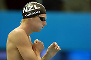 Cameron Gibson (NZL) lines up for the Men's 200m Backstroke Heat at the 2006 Commonwealth Games at the Sports and Aquatic Centre, Melbourne, Australia on 18 March, 2006. Photo: Sport the Library / www.photosport.nz