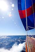 Sailing onboard Rebecca at The Superyacht Cup regatta, Antigua 2010, race 2.