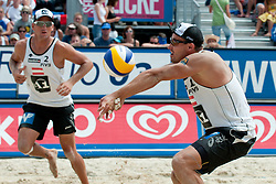 Alexander Horst and Florian Gosch of Austria at A1 Beach Volleyball Grand Slam tournament of Swatch FIVB World Tour 2010, for bronze medal, on July 31, 2010 in Klagenfurt, Austria. (Photo by Matic Klansek Velej / Sportida)