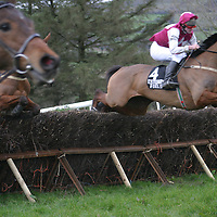 Brian Hassett on Charlie Lenihan took the first race in style at the Killaloe Point to Point last weekend.<br />