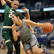 HARTFORD, CONNECTICUT- JANUARY 10: Kia Nurse #11 of the Connecticut Huskies drives past Tamara Henshaw #23 of the South Florida Bulls during the the UConn Huskies Vs USF Bulls, NCAA Women's Basketball game on January 10th, 2017 at the XL Center, Hartford, Connecticut. (Photo by Tim Clayton/Corbis via Getty Images)