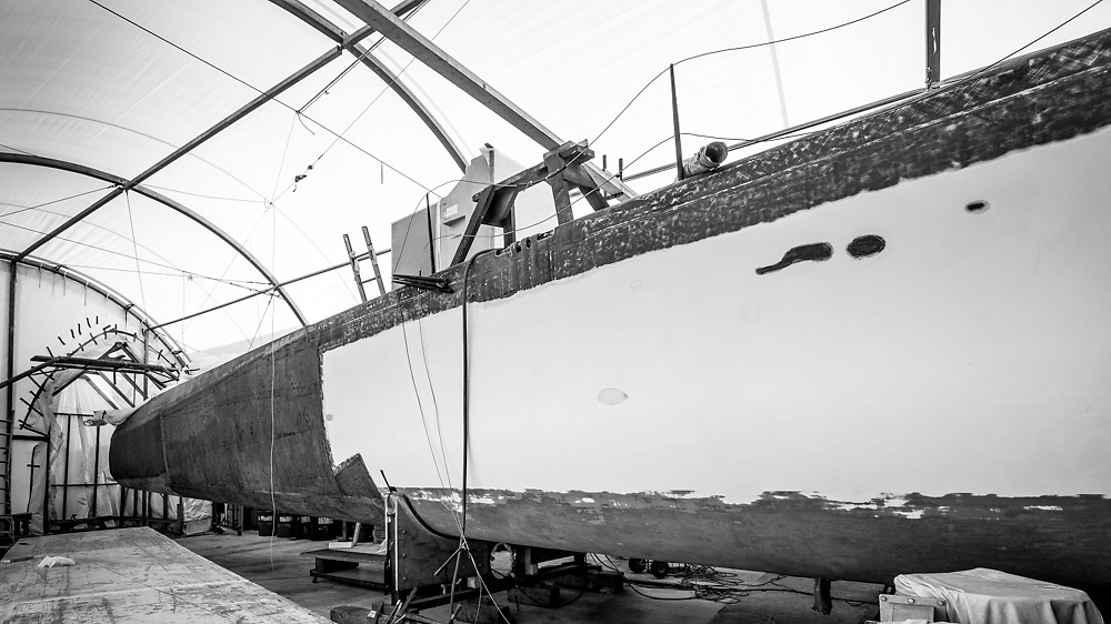 100 foot race yacht at Southern Ocean Marine.  May 2016 Photo:Gareth Cooke