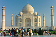 Tourists at The Taj Mahal mausoleum southern view Uttar Pradesh, India