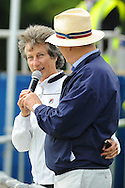 Picture by Ste Jones/Focus Images Ltd.  07706 592282.23/06/12.Compere Alan Jackson introduces former Wimbledon champion Virginia Wade to the crowd during the +medicash Liverpool International 2012 tennis at Calderstones Park, Liverpool.