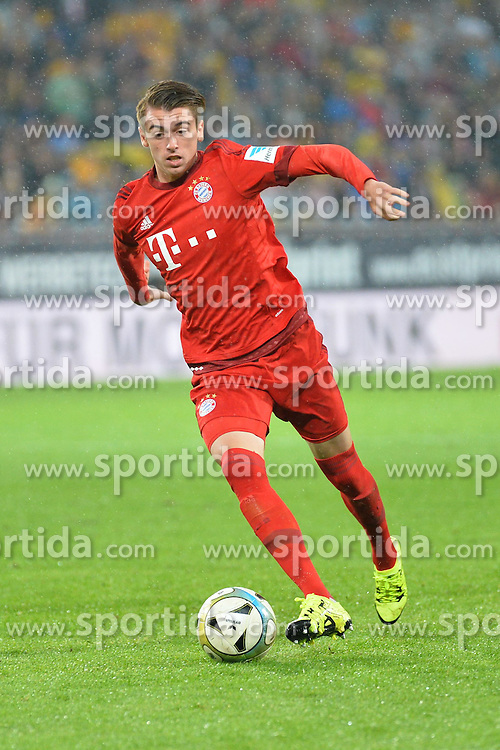 17.08.2015, Stadion Dresden, Dresden, GER, Testspiel, SG Dynamo Dresden vs FC Bayern Muenchen, im Bild Lucas Scholl (FC Bayern Muenchen) am Ball // during a benefit Match between SG Dynamo Dresden and FC Bayern Munich at the Stadion Dresden in Dresden, Germany on 2015/08/17. EXPA Pictures © 2015, PhotoCredit: EXPA/ Eibner-Pressefoto/ Harzer<br /> <br /> *****ATTENTION - OUT of GER*****