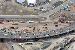 """Early Eastbound Approach Construction, Pearl Harbor Memorial """"Q"""" Bridge, just east of Interstate I-95 I-91 CT Route 34 Interchanges. Surface road Water Street/Forbes Avenue at top. Details of approaches, overpasses, ramps & roadway near or within I-95 New Haven Harbor Crossing Corridor projects confines. Photography taken at the beginning of Contract B1 & E1"""
