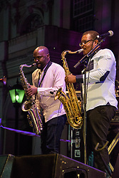 Percy Mbonani & Themba Ndaba, Mango Groove. Cape Town Jazz Festival Free Community Concert, 29 March 2017. Greenmarket Square. Photo by Alec Smith/imagemundi.com