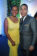 Water Mill, New York: (L-R) Photographic Artist Carrie Mae Weems( honoree) and Valentino Carlotti (honoree) attend the RUSH Philanthropic Arts Foundation 15th Annual Art For Life Benefit Gala held in the Hamptons at the Farmview Farms on July 26, 2014  in Water Mill, New York. (Terrence Jennings)