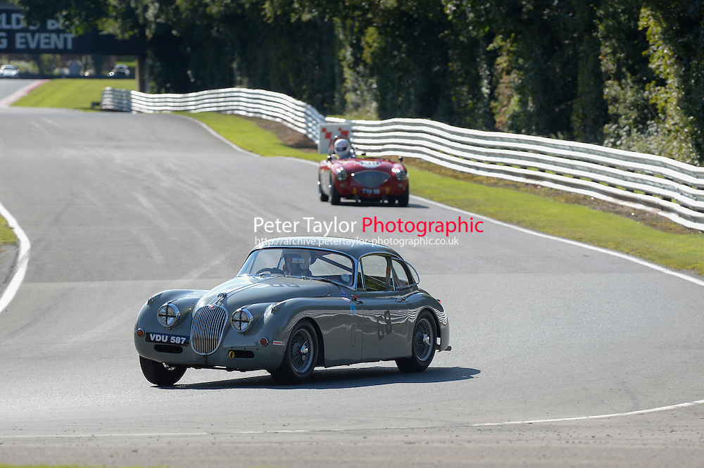 #68 Paul De Havilland, Jaguar Xk150 during Fiscar (1950's Sports Cars) Qualifying at Oulton Park, Little Budworth, Cheshire, United Kingdom. August 23 2014. World Copyright Peter Taylor/PSP. Copy of publication required for printed pictures.  Every used picture is fee-liable. http://archive.petertaylor-photographic.co.uk