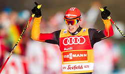 18.01.2014, Casino Arena, Seefeld, AUT, FIS Weltcup Nordische Kombination, Seefeld Triple, Langlauf, im Bild Jubel von  Eric Frenzel (GER) //  Eric Frenzel (GER) celebrate after Winning the Cross Country at FIS Nordic Combined World Cup Triple at the Casino Arena in Seefeld, Austria on 2014/01/18. EXPA Pictures © 2014, PhotoCredit: EXPA/ JFK