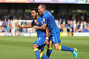 AFC Wimbledon striker Andy Barcham (17) celebrating after scoring goal to make it 2-0 during the EFL Sky Bet League 1 match between AFC Wimbledon and Doncaster Rovers at the Cherry Red Records Stadium, Kingston, England on 26 August 2017. Photo by Matthew Redman.