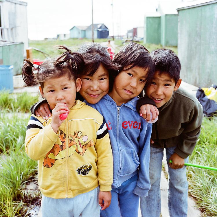 NEWTOK, ALASKA - 2008: Children of Newtok.
