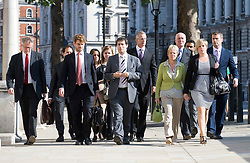 © licensed to London News Pictures. 11/07/2011. The dowler Family (right of picture, Bob Dowler, Sally Dowler and Gemma Dowler),  arrive at The Cabinet Office with member of the 'Hacked Off' group to meet Deputy Prime Minister Nick Clegg today (11/07/2011) to discuss the News Of The World phone hacking scandal . Photo credit should read Ben Cawthra/LNP