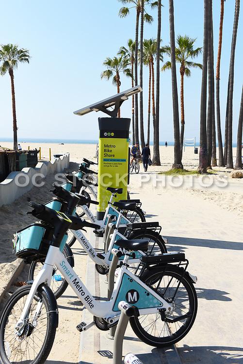 Smart Metro Bike Share Kiosk Along the Boardwalk and Beach in Venice Beach