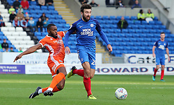 Michael Doughty of Peterborough United in action with Aristote Nsiala of Shrewsbury Town - Mandatory by-line: Joe Dent/JMP - 28/10/2017 - FOOTBALL - ABAX Stadium - Peterborough, England - Peterborough United v Shrewsbury Town - Sky Bet League One