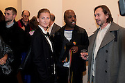 ELIZABETH VON GUTTMAN; DURO OLOWU; MARC NEWSON, 'Engagement' exhibition of work by Jennifer Rubell. Stephen Friedman Gallery. London. 7 February 2011. -DO NOT ARCHIVE-© Copyright Photograph by Dafydd Jones. 248 Clapham Rd. London SW9 0PZ. Tel 0207 820 0771. www.dafjones.com.