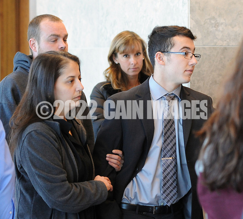 Michael Shelly (right) arrives with family and friends for sentencing Monday November 23, 2015 at the Bucks County Justice Center in Doylestown, Pennsylvania.  Shelly was sentenced to 11 - 23 months in prison for the vehicular homicide of 16 year old Minete Zeka. (Photo by William Thomas Cain)