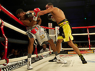 Picture by Alan Stanford/Focus Images Ltd +44 7915 056117<br /> 16/11/2013<br /> James Degale lands a good left on Dyah Davis ( silver trunks) for the <br /> WBC super-middleweight title at Glow Bluewater, Greenhithe.