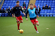 Scunthorpe Utd midfielder Levi Sutton (22) warming up before the EFL Sky Bet League 1 match between Peterborough United and Scunthorpe United at London Road, Peterborough, England on 1 January 2019.