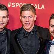 NLD/Amsterdam/20161221 - NOC*NSF Sportgala 2016, Jelle van Gorkum, Niek Kimmann en Twan van Gendt