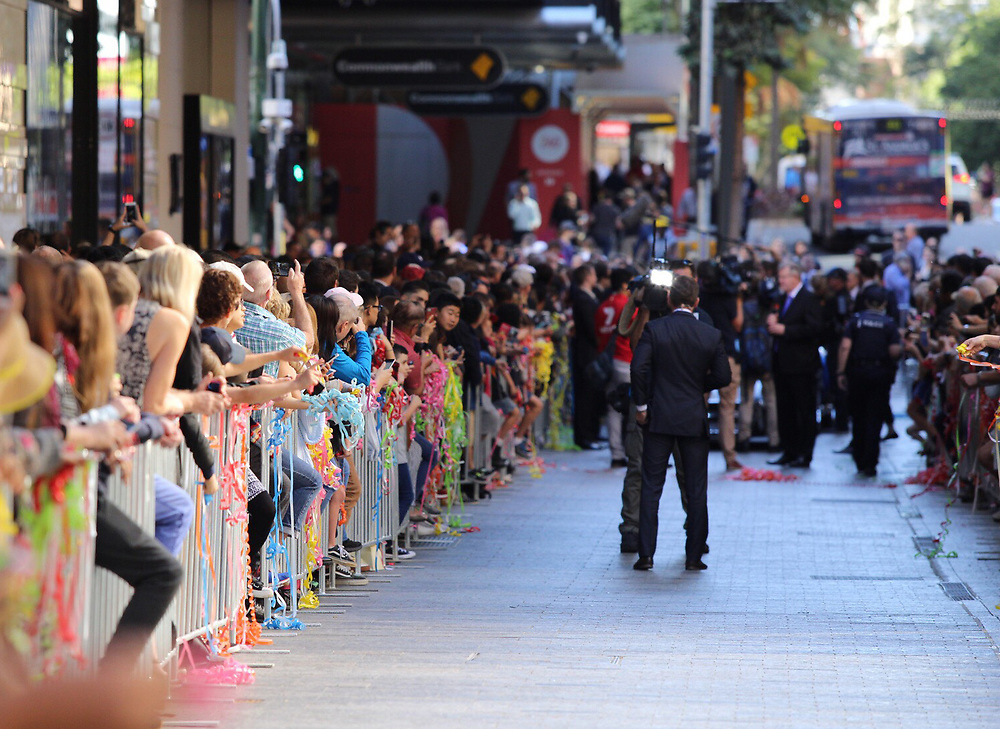 Australian's celebrate the win of boxer Jeff Horn over Manny Pacquiao with a street parade in Queen Street Mall, Brisbane, Australia, Thursday, July 06, 2017 , 2017. Credit:SNPA / Cameron Avery **NO ARCHIVING**