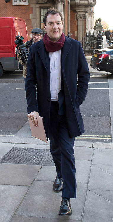 © Licensed to London News Pictures. 08/12/2017. London, UK. Former Chancellor and current editor or the Evening Standard newspaper, GEORGE OSBORNE is seen arriving at Milbank Studio in Westminster, London. Photo credit: Ben Cawthra/LNP