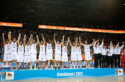 Players of Spain at medal ceremony after the final basketball game between National basketball teams of Spain and France at FIBA Europe Eurobasket Lithuania 2011, on September 18, 2011, in Arena Zalgirio, Kaunas, Lithuania. Spain defeated France 98-85 and became European Champion 2011, France placed second and Russia third. (Photo by Vid Ponikvar / Sportida)