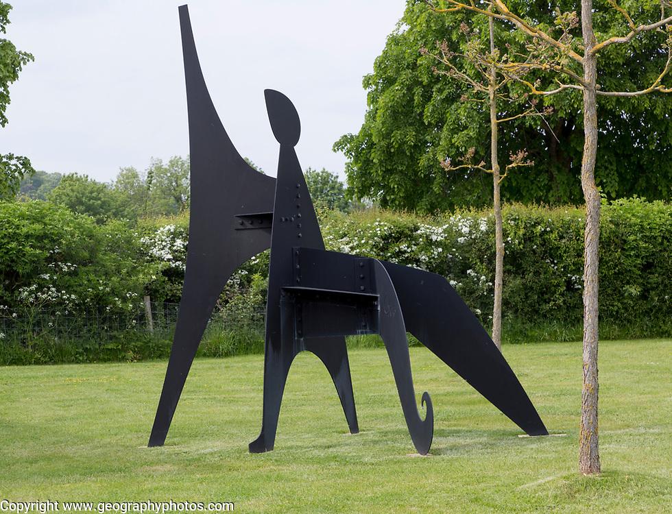Hauser and Wirth art gallery, restaurant and garden, Durslade Farm, Bruton, Somerset, England, UK, Alexander Calder sculpture 'Sabot' 1963