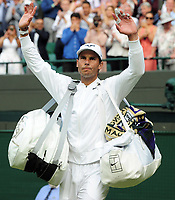 Tennis - 2019 Wimbledon Championships - Week Two, Wednesday (Day Nine)<br /> <br /> Men's Singles, Quarter-Final: Sam Querry (USA) v Rafael Nadal (ESP)<br /> <br /> Rafael Nadal after winning the match on Court 1.<br /> <br /> COLORSPORT/ANDREW COWIE
