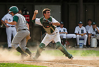 Hank Vincent attempts a double play with a throw to second during semi final Division IV baseball with Colebrook at Plymouth State University Wednesday evening.  (Karen Bobotas/for Valley News)