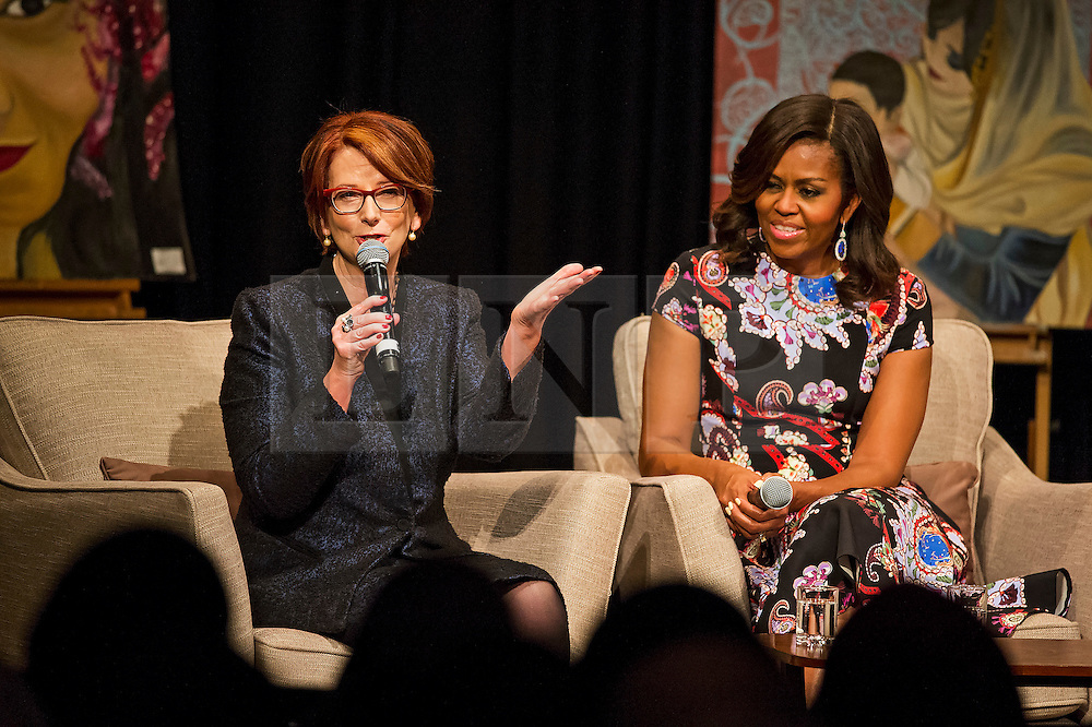 © Licensed to London News Pictures. 16/06/2015. London, UK. L to R First lady MICHELLE OBAMA and former prime minister of Australia JULIAN GILLARD take part in a questions and answers session   during a visit to Mulbery School For Girls in east London. Photo credit: Ben Cawthra/LNP
