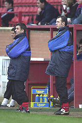KETTERING MANAGER KEVIN WILSON WITH ASS MANAGER LEE HOWEY IN BACKGROUND 14/2/04 Kettering Town v Basingstoke Rockingham Road 14th February